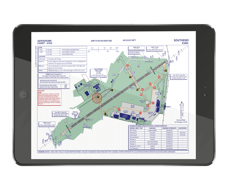Pilot Assist Pro app showing airport ground chart