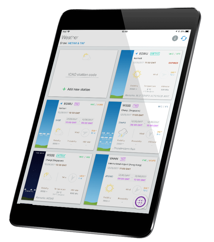 Aviation weather displayed on Pilot Assist Pro™ app