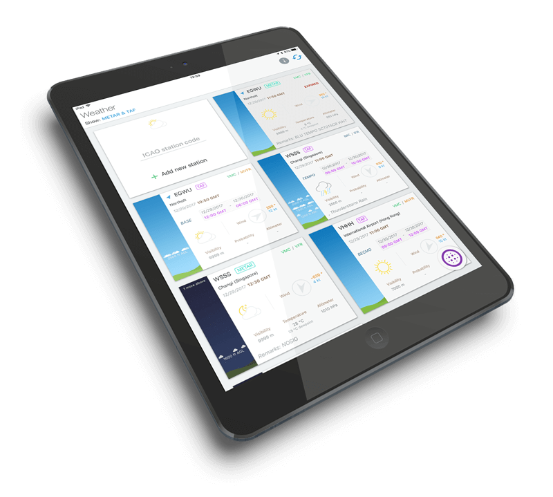 Pilot Assist Pro app with aviation weather and notams display
