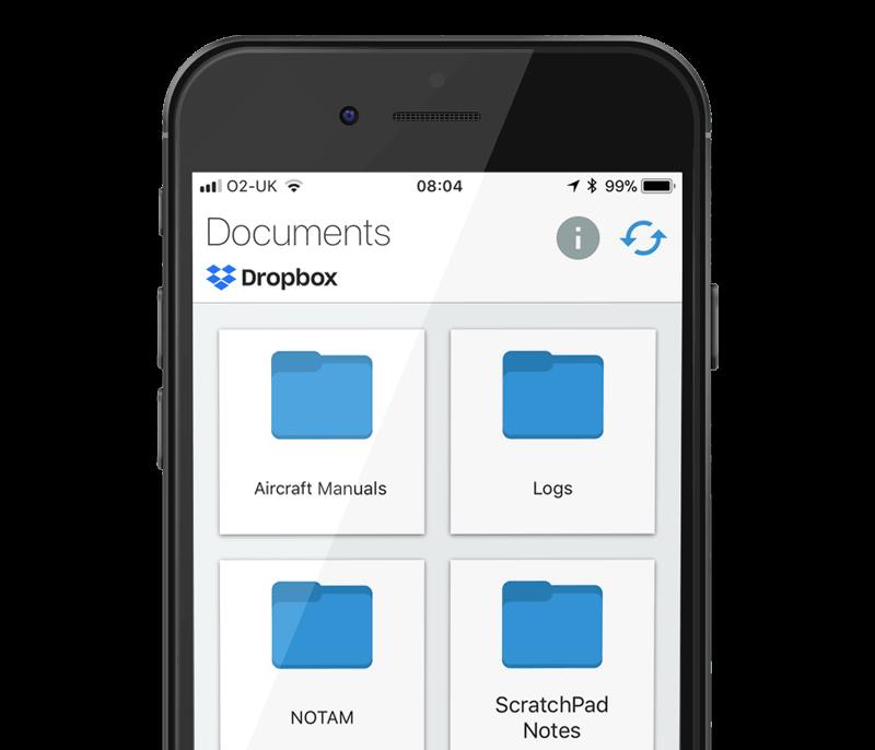 Pilot Assist Pro app showing files on Dropbox